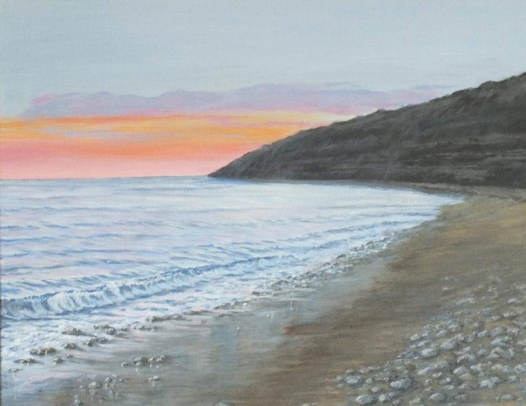 Sunset Monmouth Beach - Sue Lewin Artist